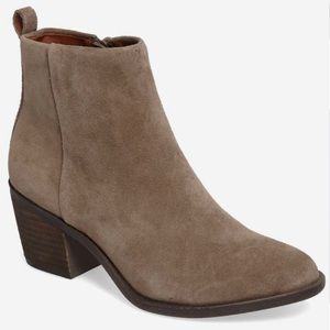 Lucky Brand Natania Taupe Suede Booties